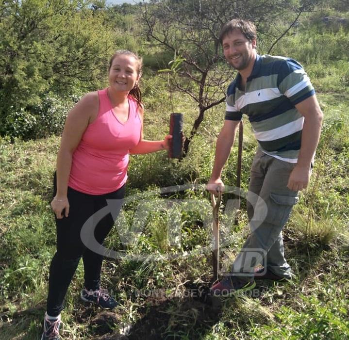 Comenzó la plantación de árboles donados por el Club San Martín